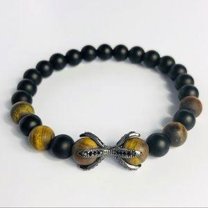 GEMSTONE   Mens Onyx Tiger Eye Beaded Bracelet